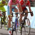 la maglia rosa Nibali, Cadel Evans e Santambrogio