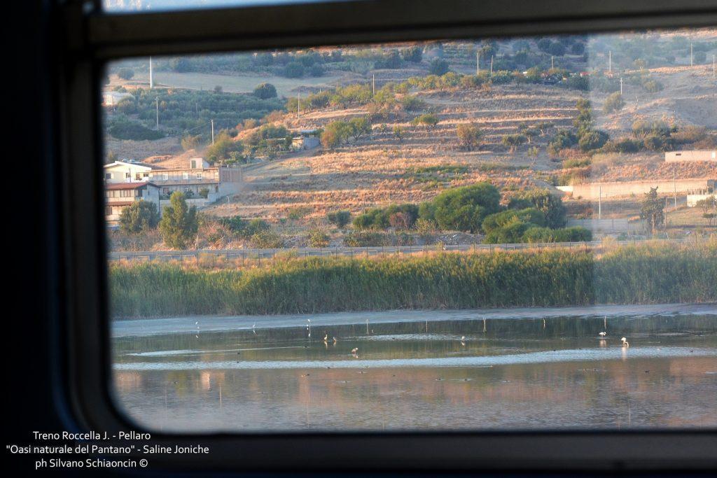 """Da Pellaro (RC) a Roccella Jonica (RC): il mare visto dal finestrino del treno. """"Oasi naturale del Pantano"""" a Saline Joniche (RC)."""